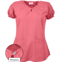 Butter-Soft Scrubs by UA™ Keyhole Neck Top w/ Rhinestone Detail