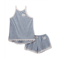 Sky Blue Stripe Shortie Pajama Set - Girls