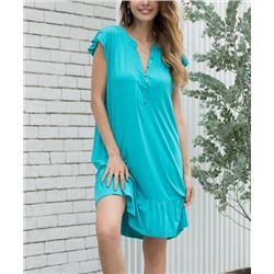 Turquoise Button-Front Shift Dress - Women & Plus