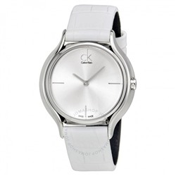 CALVIN KLEIN Skirt Silver Dial White Leather Ladies Watch