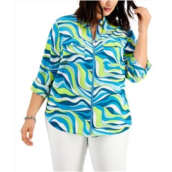 MICHAEL Michael Kors Plus Size Zippered Printed Shirt
