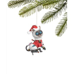 Holiday Lane Pets Siamese Cat in Santa Hat Ornament, Created for Macy's