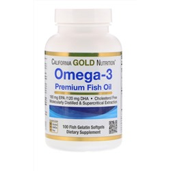 Omega-3, Premium Fish Oil, 100 Fish Gelatin Softgels