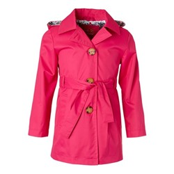Pink Peacock Trench Coat - Girls Pink Platinum