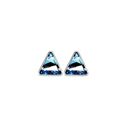 Blue Triangle Stud Earrings With Swarovski® Crystals