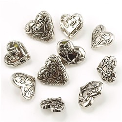 "Набор пуговиц JESSE JAMES арт.0014 ""ASSORTED ITEMS-HEARTS ASST SILVER"""