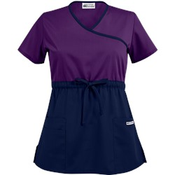 UA Best Buy Scrubs Color Block Empire Waist Mock Wrap Scrub Top