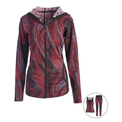 Fuchsia & Black Abstract Three-Piece Activewear Zip-Up Hoodie Set - Juniors