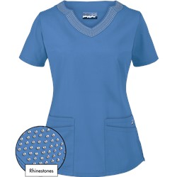 Butter-Soft Scrubs by UA™ Scallop Neck Top w/ Rhinestone Detail