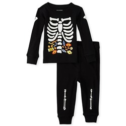 Светящаяся пижама скелет Unisex Baby And Toddler Halloween Costume Glow Skeleton Snug Fit Cotton Pajamas