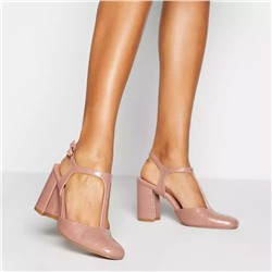 Principles - Pink 'Raspberry' Block Heel Court Shoes