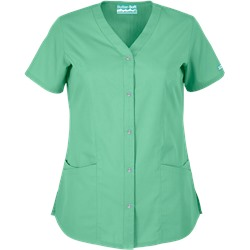 Butter-Soft Scrubs by UA™ Rhinestone Button Front Y-Neck Top