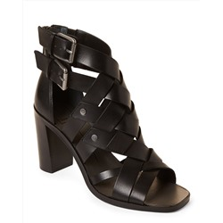 Black Noree Woven Leather Sandals