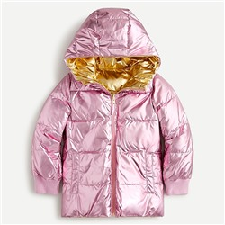 Girls' reversible quilted puffer jacket with PrimaLoft®