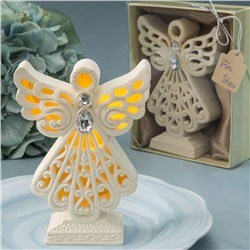 Gifts by Fashion Craft Crafted Resin Glowing Angel Statue Figurine with LED Light, 4 1/2 Inch