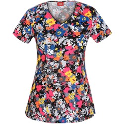 Dickies EDS Scrubs Fabulous Floral Print Top