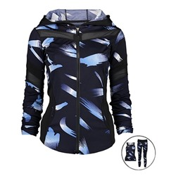Black & Blue Abstract Three-Piece Activewear Jacket Set - Juniors Dolce Bonita