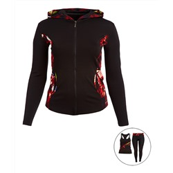 Black & Red Geometric Three-Piece Zip-Up Hoodie Set - Juniors Dolce Bonita