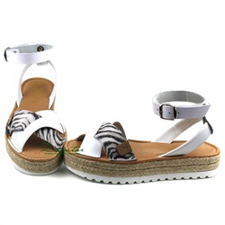 AB. ZAPATOS correas· CRUZ/YUTE ·blanco Zebra