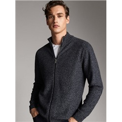 WOOL CARDIGAN WITH ELBOW PATCHES