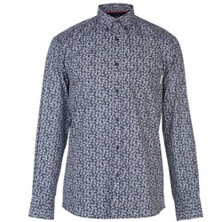 Pierre Cardin, Long Sleeve Printed Camisa Hombre